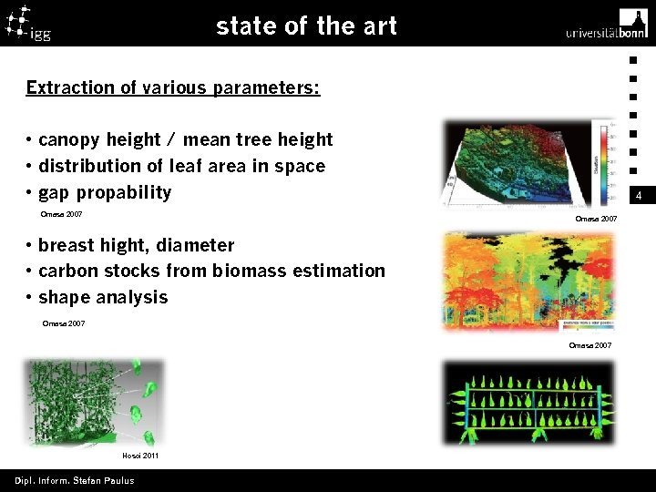state of the art Extraction of various parameters: • canopy height / mean tree