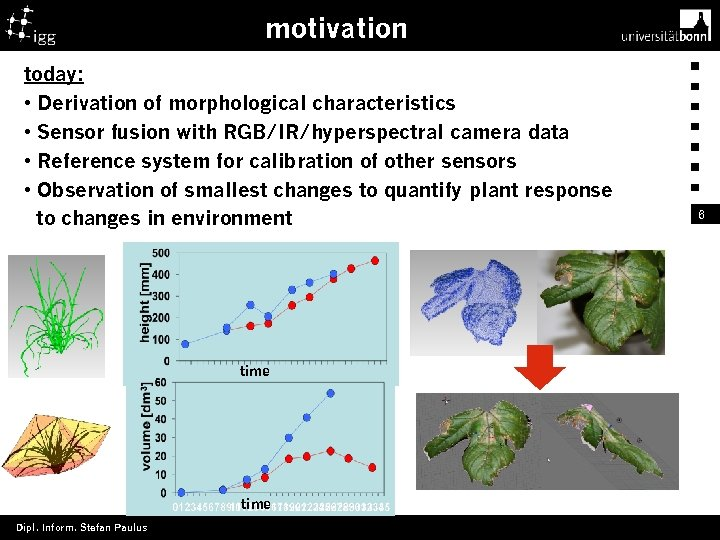 motivation today: • Derivation of morphological characteristics • Sensor fusion with RGB/IR/hyperspectral camera data