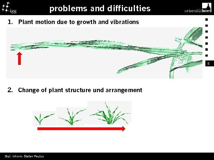 problems and difficulties 1. Plant motion due to growth and vibrations 8 2. Change