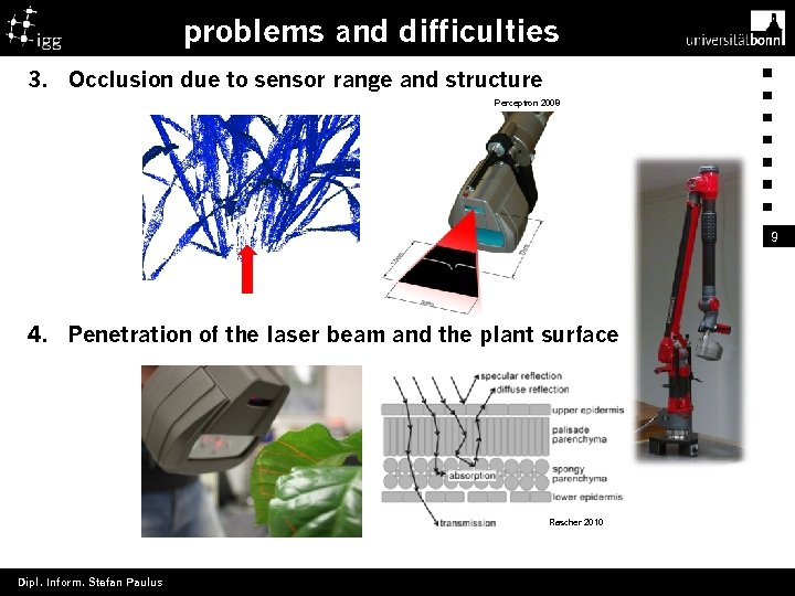problems and difficulties 3. Occlusion due to sensor range and structure Perceptron 2008 9