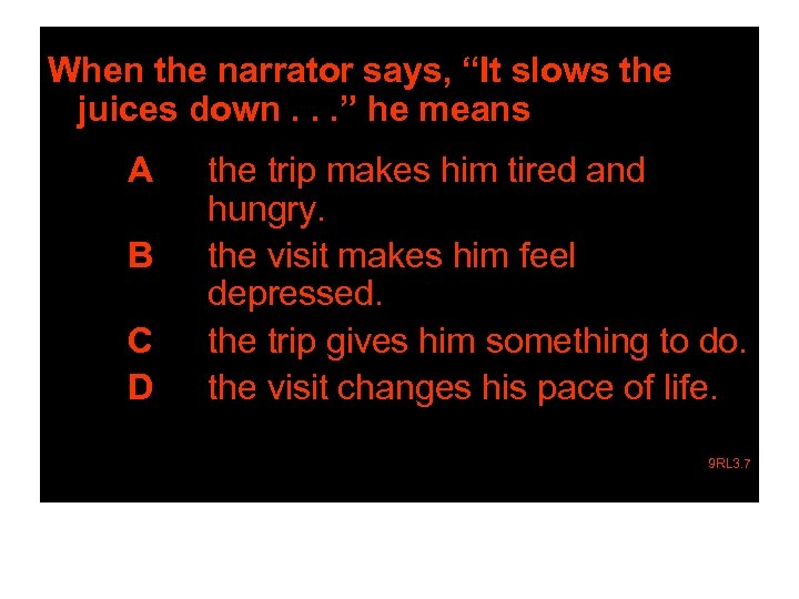 """When the narrator says, """"It slows the juices down. . . """" he means"""