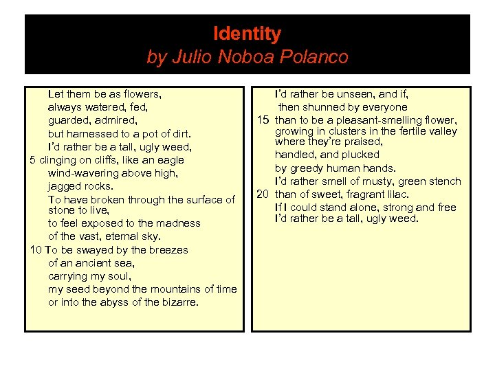 Identity by Julio Noboa Polanco Let them be as flowers, always watered, fed, guarded,
