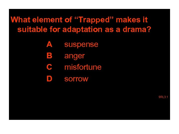 """What element of """"Trapped"""" makes it suitable for adaptation as a drama? A B"""