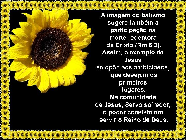 A imagem do batismo sugere também a participação na morte redentora de Cristo (Rm