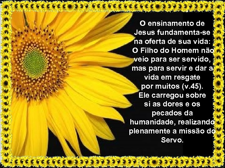 O ensinamento de Jesus fundamenta-se na oferta de sua vida: O Filho do Homem