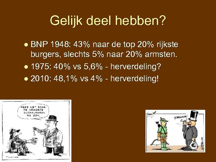 Gelijk deel hebben? l BNP 1948: 43% naar de top 20% rijkste burgers, slechts