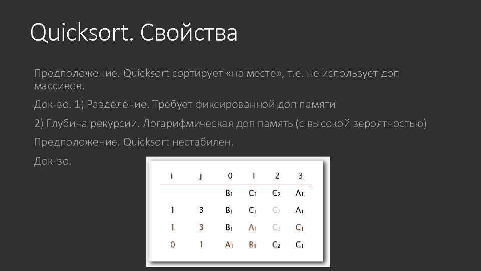 Quicksort. Свойства Предположение. Quicksort сортирует «на месте» , т. е. не использует доп массивов.