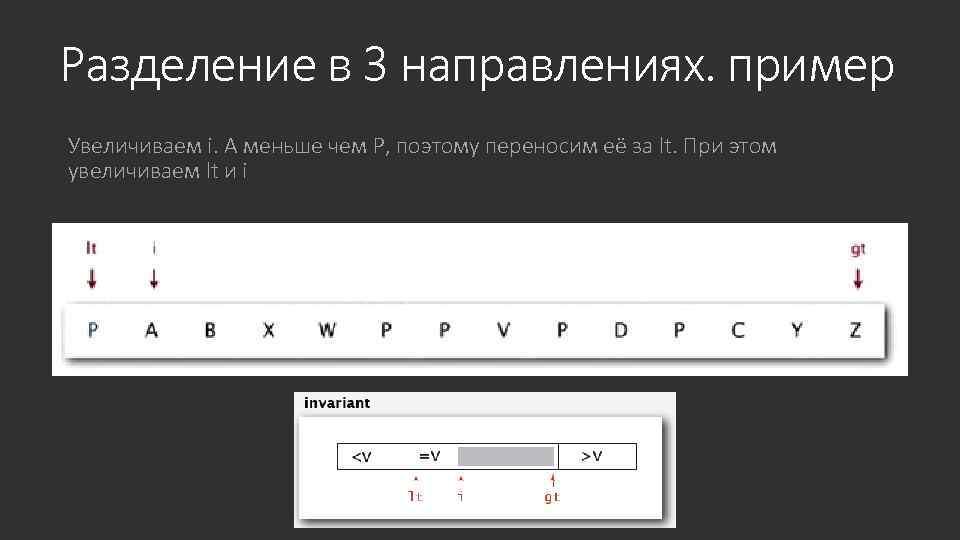 Разделение в 3 направлениях. пример Увеличиваем i. А меньше чем P, поэтому переносим её