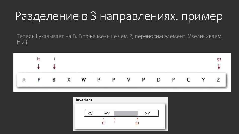 Разделение в 3 направлениях. пример Теперь i указывает на B, B тоже меньше чем