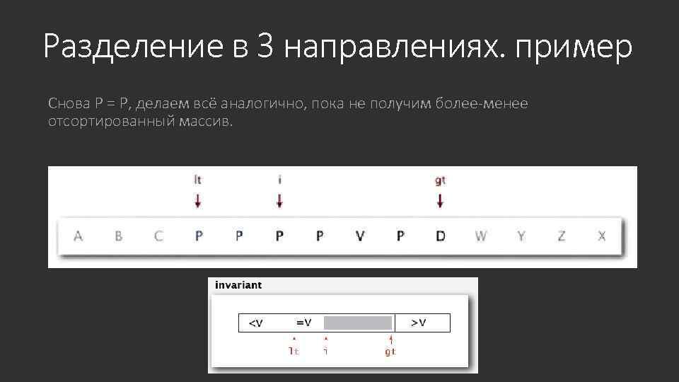 Разделение в 3 направлениях. пример Снова P = P, делаем всё аналогично, пока не