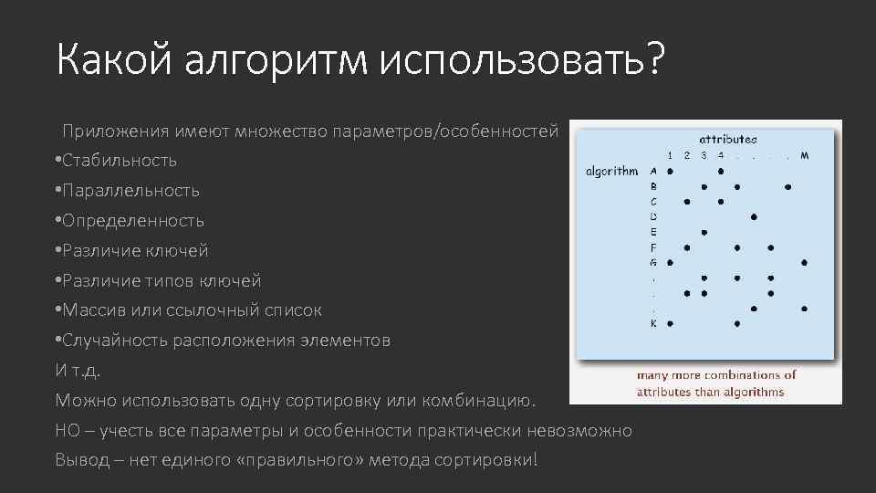 Какой алгоритм использовать? Приложения имеют множество параметров/особенностей • Стабильность • Параллельность • Определенность •
