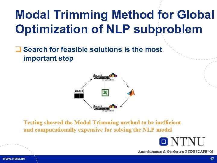 Modal Trimming Method for Global Optimization of NLP subproblem q Search for feasible solutions