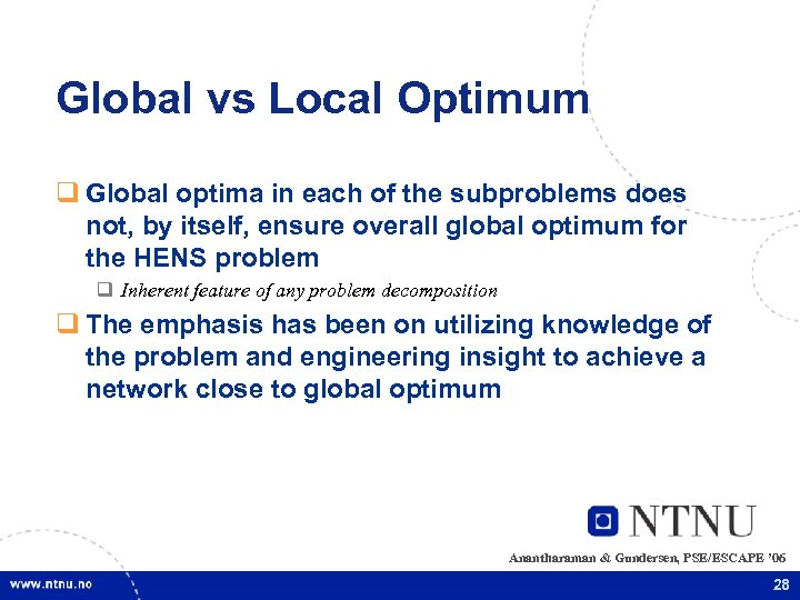 Global vs Local Optimum q Global optima in each of the subproblems does not,