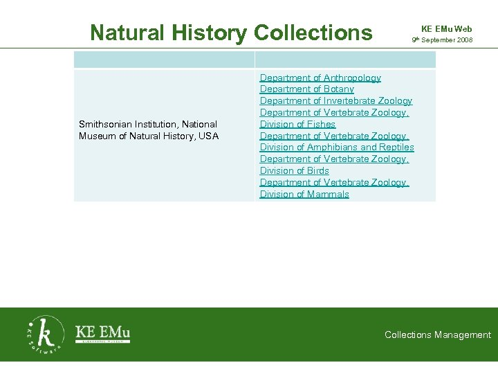 Natural History Collections Smithsonian Institution, National Museum of Natural History, USA KE EMu Web