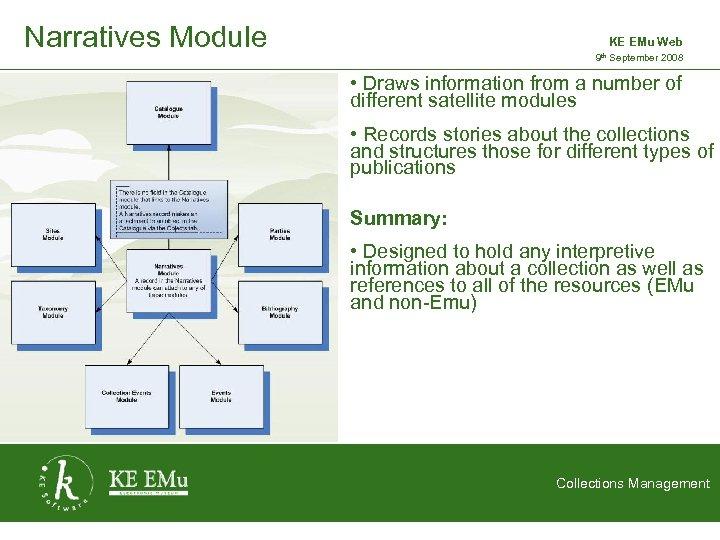 Narratives Module KE EMu Web 9 th September 2008 2 September 2005 • Draws