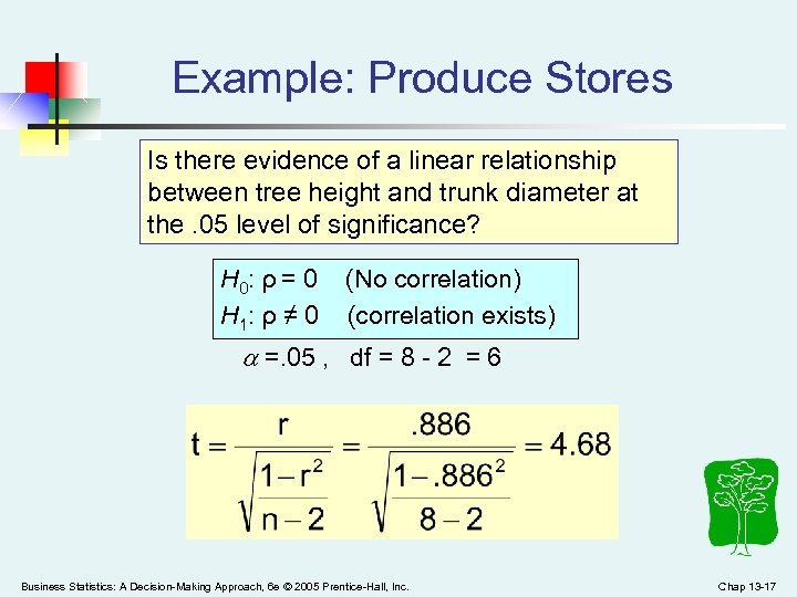 Example: Produce Stores Is there evidence of a linear relationship between tree height and