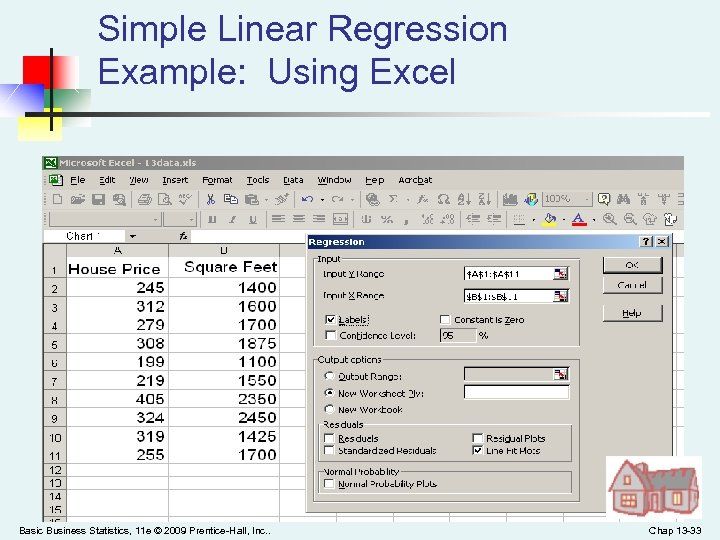 Simple Linear Regression Example: Using Excel Basic Business Statistics, 11 e © 2009 Prentice-Hall,