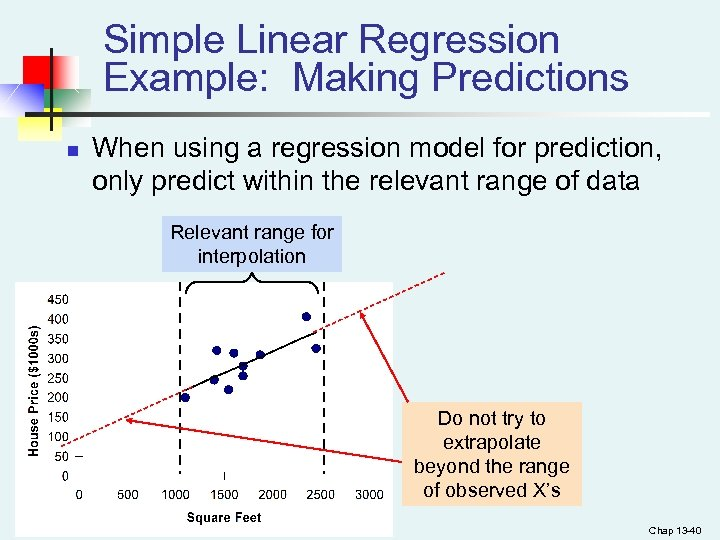Simple Linear Regression Example: Making Predictions n When using a regression model for prediction,