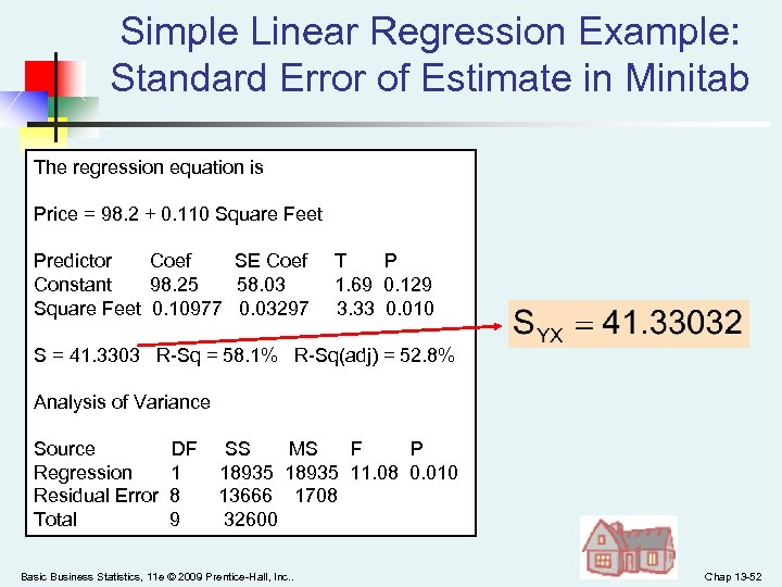 Simple Linear Regression Example: Standard Error of Estimate in Minitab The regression equation is