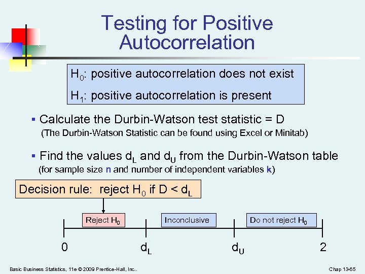 Testing for Positive Autocorrelation H 0: positive autocorrelation does not exist H 1: positive