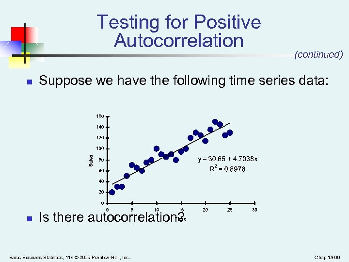 Testing for Positive Autocorrelation (continued) n Suppose we have the following time series data: