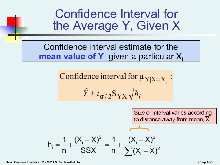 Confidence Interval for the Average Y, Given X Confidence interval estimate for the mean