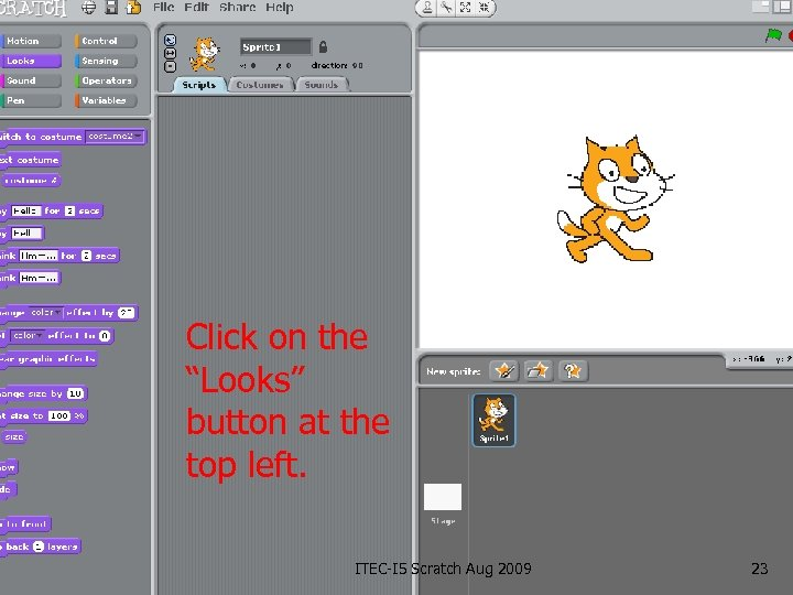 """Click on the """"Looks"""" button at the top left. ITEC-I 5 Scratch Aug 2009"""