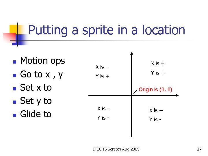 Putting a sprite in a location n n Motion ops Go to x ,