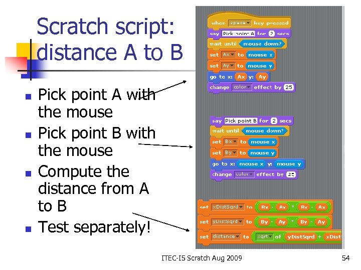 Scratch script: distance A to B n n Pick point A with the mouse