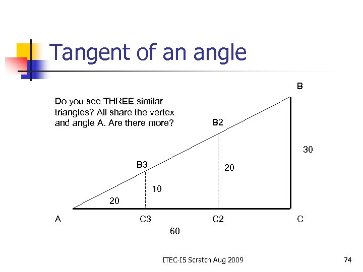 Tangent of an angle B Do you see THREE similar triangles? All share the