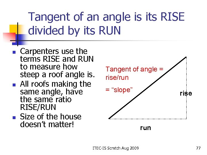 Tangent of an angle is its RISE divided by its RUN n n n
