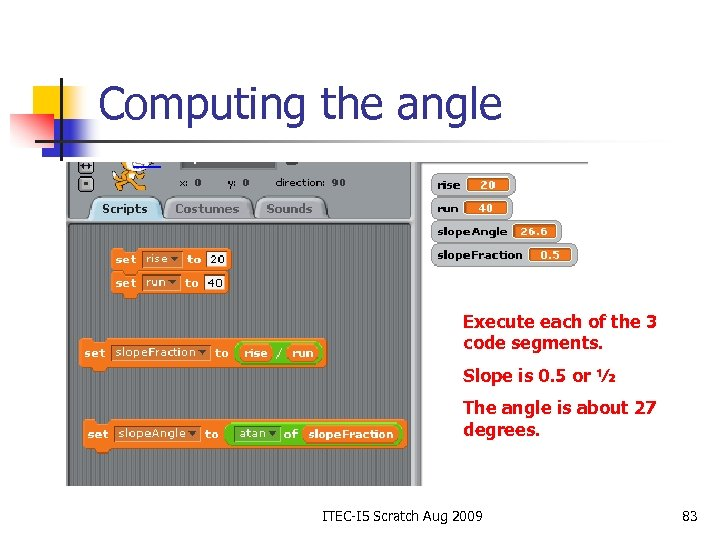 Computing the angle Execute each of the 3 code segments. Slope is 0. 5