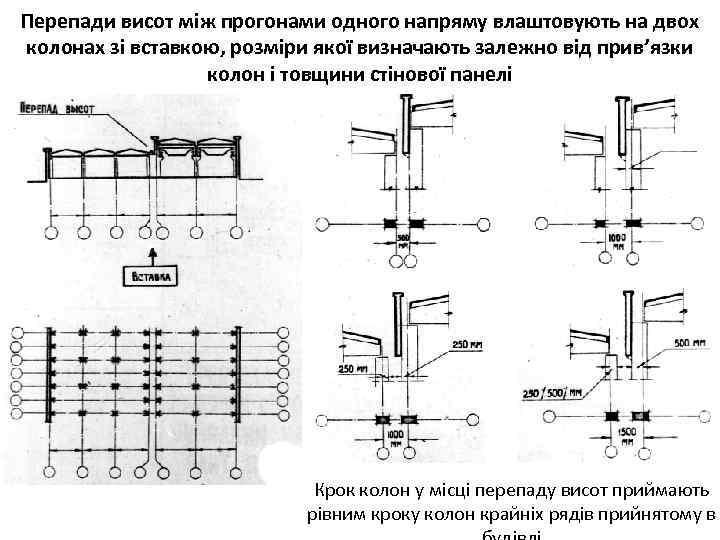 Перепади висот між прогонами одного напряму влаштовують на двох колонах зі вставкою, розміри якої