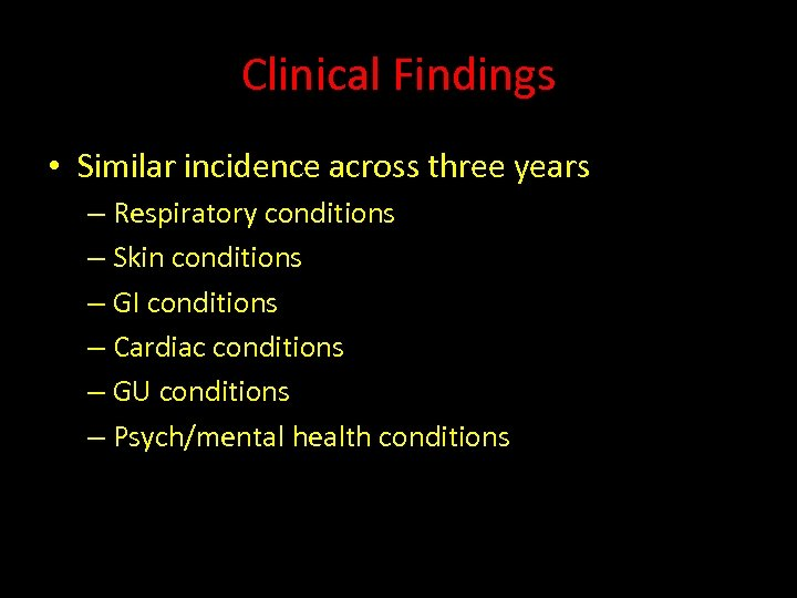 Clinical Findings • Similar incidence across three years – Respiratory conditions – Skin conditions