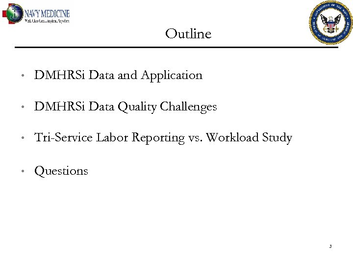 Outline • DMHRSi Data and Application • DMHRSi Data Quality Challenges • Tri-Service Labor