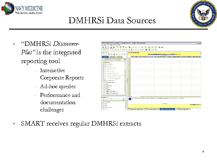 "DMHRSi Data Sources • ""DMHRSi Discoverer. Plus"" is the integrated reporting tool • •"