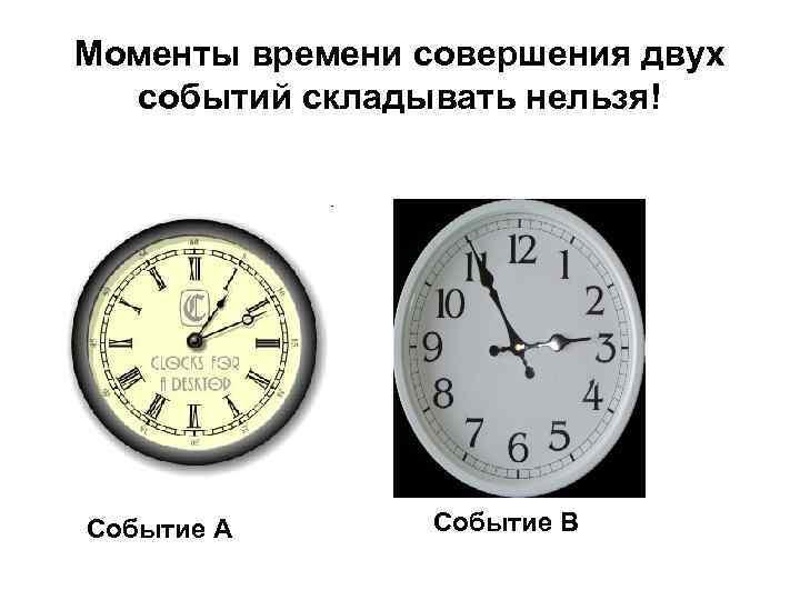 Моменты времени совершения двух событий складывать нельзя! Событие А Событие B
