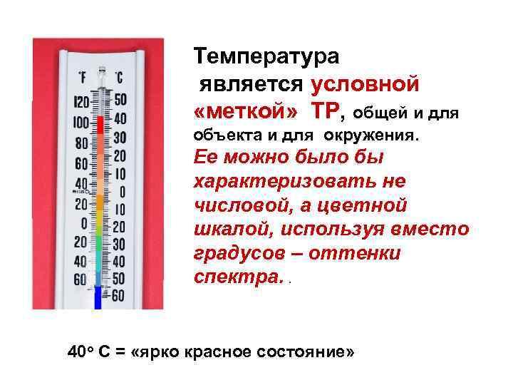 Температура является условной «меткой» ТР, общей и для объекта и для окружения. Ее можно