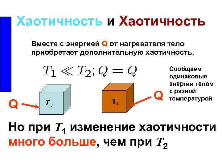 Хаотичность и Хаотичность Вместе с энергией Q от нагревателя тело приобретает дополнительную хаотичность. Q