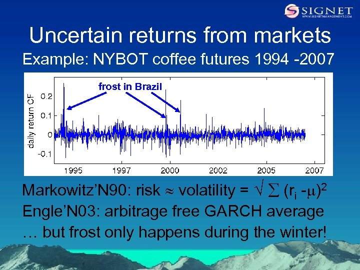Uncertain returns from markets Example: NYBOT coffee futures 1994 -2007 frost in Brazil Markowitz'N