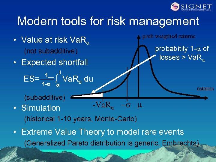 Modern tools for risk management prob weigthed returns • Value at risk Va. Ra