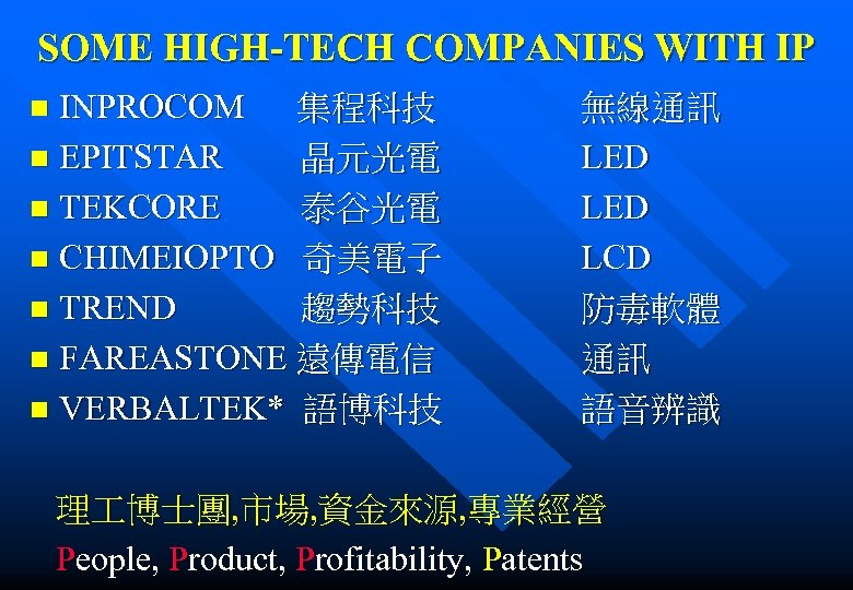 SOME HIGH-TECH COMPANIES WITH IP INPROCOM 集程科技 無線通訊 n EPITSTAR 晶元光電 LED n TEKCORE