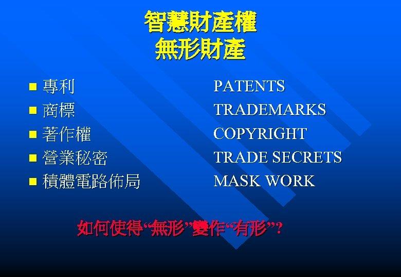 智慧財產權 無形財產 專利 n 商標 n 著作權 n 營業秘密 n 積體電路佈局 n PATENTS TRADEMARKS