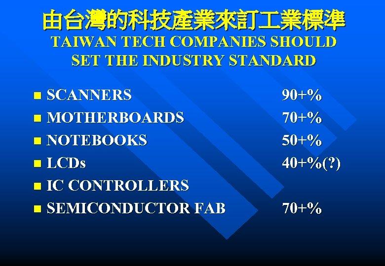 由台灣的科技產業來訂 業標準 TAIWAN TECH COMPANIES SHOULD SET THE INDUSTRY STANDARD SCANNERS n MOTHERBOARDS n