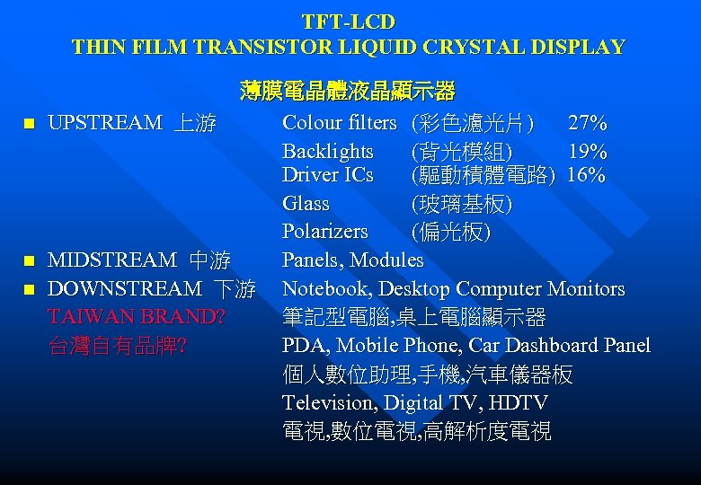 TFT-LCD THIN FILM TRANSISTOR LIQUID CRYSTAL DISPLAY n n n 薄膜電晶體液晶顯示器 UPSTREAM 上游 Colour