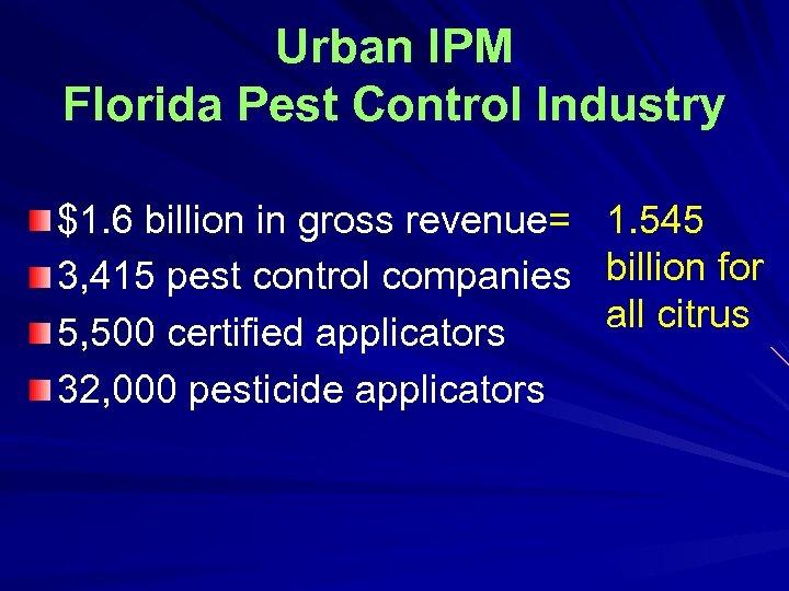 Urban IPM Florida Pest Control Industry $1. 6 billion in gross revenue= 1. 545