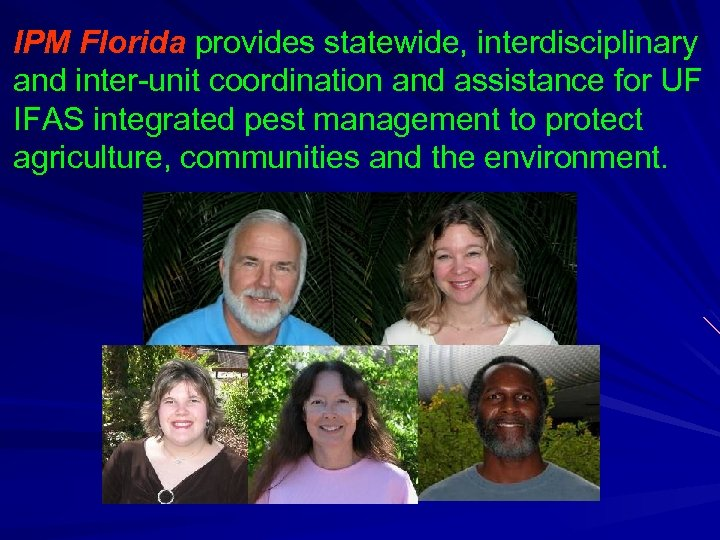 IPM Florida provides statewide, interdisciplinary and inter-unit coordination and assistance for UF IFAS integrated