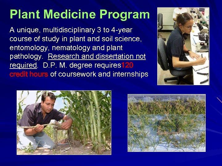 Plant Medicine Program A unique, multidisciplinary 3 to 4 -year course of study in