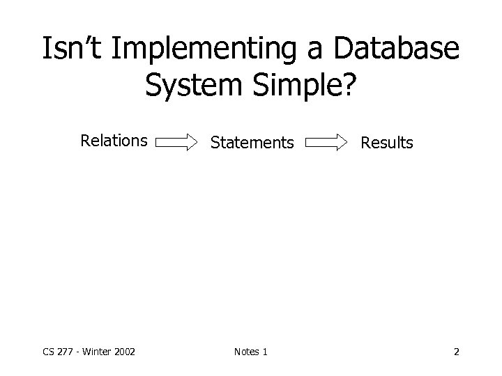Isn't Implementing a Database System Simple? Relations CS 277 - Winter 2002 Statements Notes