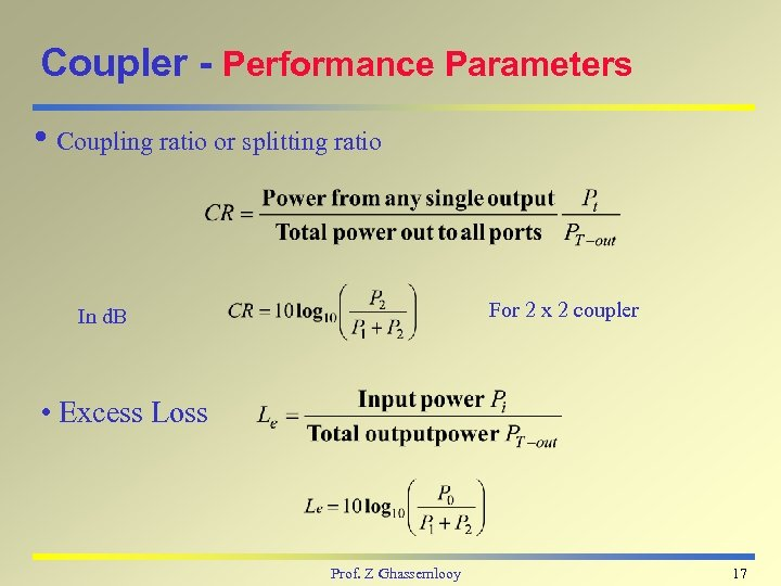 Coupler - Performance Parameters i Coupling ratio or splitting ratio For 2 x 2